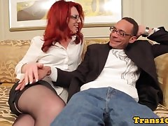 Redhead tgirl with regard to stockings..