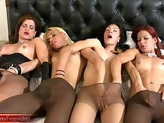 Shemale girlfriends give pantyhose..