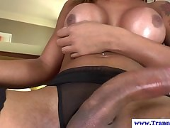 Charm tgirl swallows sperm