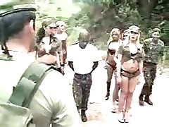 Shemales plus army making love all over a forest