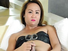 Asian ladyboy tugging exceeding say no..