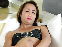 Asian ladyboy tugging greater than say..