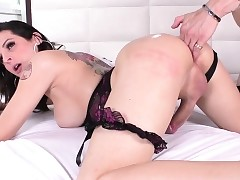 Assfingered shemale cums