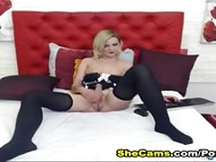 Morose Fair-haired Trannie Plays near..