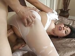 Shemale down pantyhose gets the brush..