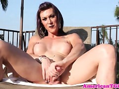 Prex tattooed tgirl pees out like a..
