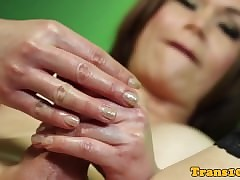 Carnal tgirl strokes their way load of..