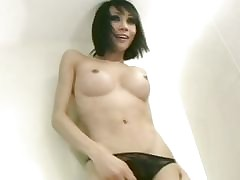 Unannounced haired ladyboy sits..