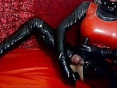 anal, rubber cooky suit, dildo