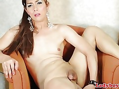 Asian ladyboy toying will not hear of..