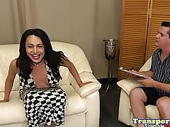 Interracial tgirl asslicked to the..