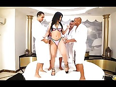 Shemale fucked hard by a handful of..